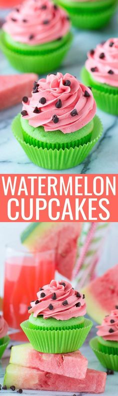 Make these fun summer watermelon cupcakes! Bright green cupcakes with buttercream frosting that tastes like watermelon! Add mini chocolate chips for the watermelon seeds! Serve these cupcakes at a one in a melon themed party! Brownie Desserts, Mini Desserts, No Bake Desserts, Just Desserts, Delicious Desserts, Yummy Food, Baking Desserts, Health Desserts, Plated Desserts