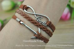 Silver Infinity wish love & Anchor Charm Bracelet by HandmadeTribe, $3.50 Fashion handmade leather bracelet