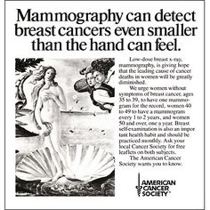 American Cancer Society advertisement for mammograms from the 1970s! #vintage #mammograms #history