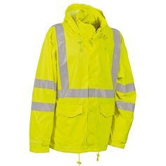 The Cofra Merida Hi Vis Rain Jacket is also waterproof to EN Workwear Brands, Merida, Wardrobes, Work Wear, Rain Jacket, Windbreaker, Raincoat, Casual, Stuff To Buy