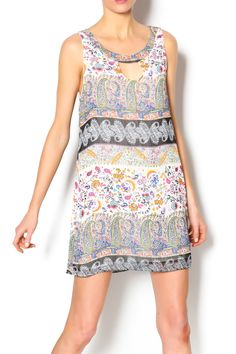 Eva sleeveless floral print dress, keyhole in front and back, fully lined. Pair with natural wedges and you are ready for date night.   Eva Keyhole Dress by Lucy Love. Clothing - Dresses - Printed Clothing - Dresses - Casual Clothing - Dresses - Floral Dallas, Texas