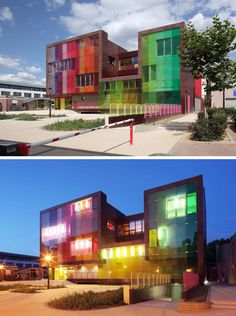 This modern building is a sports and leisure centre for kids that was created with cheerfulness in mind. The colored glass on the exterior continues thematically on the inside of the building, where rooms are divided by color.