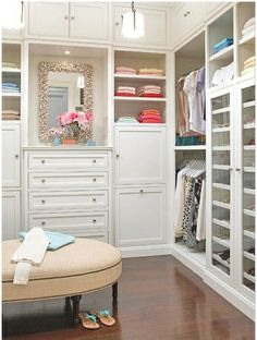 Love the mirror and a great place to put it in an amazing walk-in closet Makeup Organization, Closet, Dresser, Bedroom, Mirror, Home Decor, Homemade Home Decor, Lowboy, Cabinet