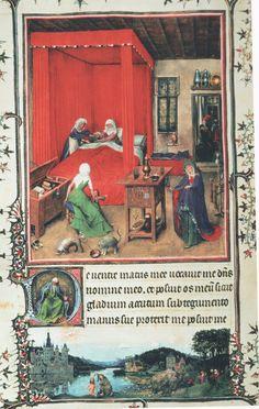 Jan Van Eyck (Países Bajos, 1390-1441). Nacimiento de San Juan Bautista, del Libro de horas de Milán-Turín, 1426-1428, Museo Cívico d'Arte Antica, Turín.