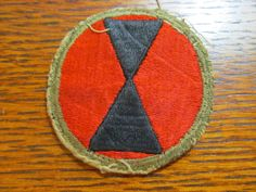 Original WW2 U.S. Army 7th Infantry Division Insignia Cloth Patch WORN!