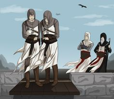 offered me an idea: novice (Altair and Ezio obviously XD) forgot to wash assassin's robes separately from the red stach they wear under their belts so t. Assassin's Creed Multiplayer, Assassins Creed Comic, It's Over Now, All Assassin's Creed, Infamous Second Son, My Themes, Video Games, Animation, Fan Art