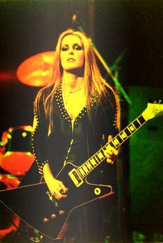Lita Ford of The Runaways performs on stage at Hammersmith Odeon on November 13th, 1977 in London, England. (Photo by Peter Still).