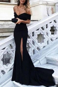Sexy Black Off the Shoulder Split Mermaid Sweep Train Prom Dress,Evening Dresses,N458