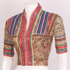 Hand Crafted Kalamkari Cotton Blouse With Embroidered Glitter Work & Collar Neck 10021506 - 40 - AVISHYA.COM