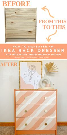 Transform a plain IKEA Rast dresser into a shabby chic boho dresser with this easy DIY dresser makeover tutorial. Follow this easy step-by-step paint tutorial on how to paint a dresser. Get creative and apply contact paper to the drawers for a boho dresser makeover. Style this bohemian painted furniture in your bedroom, master bedroom, or kids' bedroom. Discover how to makeover your dresser with this easy DIY dresser makeover tutorial. #ikearasthack #painteddresserbeforeandafter Diy Furniture Projects, Handmade Furniture, Upcycled Furniture, Painted Furniture, Kids Bedroom, Master Bedroom, Bedroom Decor, Diy Kitchen Decor, Diy Home Decor