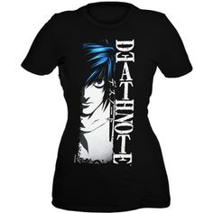 death note shirts girls | DEATH NOTE L HALF FACE GIRLS T-SHIRT - Polyvore