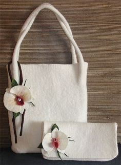 felted bag, interesting attachment of the handles