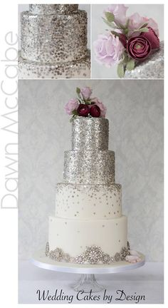 For those with a sweet tooth, selecting the perfect wedding cake for one's wedding can prove to be one of the favorite aspects of the wedding planning process. Sparkly Wedding Cakes, Snowflake Wedding Cake, Sparkly Cake, Black Wedding Cakes, Glitter Cake, Elegant Wedding Cakes, Beautiful Wedding Cakes, Wedding Cake Designs, Beautiful Cakes