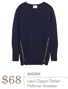 Stitch Fix January 2016 - Moon Lauri zipper detail pull over sweater, $68.  LOVE! Runs a bit large.  Also has cute black quilted leather patches on the elbows. Cute with long necklace or scarf.