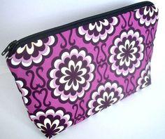 Large Padded Cosmetic Bag Flat Bottom Zipper Pouch Fancy Purple Orchid by JPATPURSES, $16.00