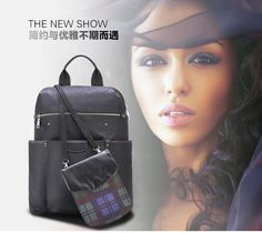 2015 Latest Japan and Korean Style Square Big Solid Black Nylon Traveling Backpacks for Women