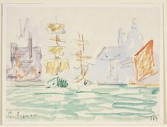 RISD Museum: Paul Signac, French, 1863-1935. View of Santa Maria della Salute, Venice, ca. 1904. Graphite and watercolor on laid paper mounted on card. 10.2 x 13.3 cm (4 x 5 1/4 inches). Gift of Mrs. Gustav Radeke 21.480