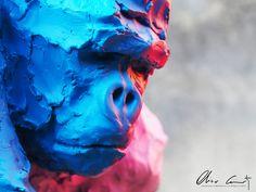 #Gorille #patriarche by #oliviercourty #singe #gorilla #streetart #popart #color #graff #animals #art #animaux #protection #artist