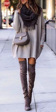 #winter #outfits gray sweater with fringe black scarf