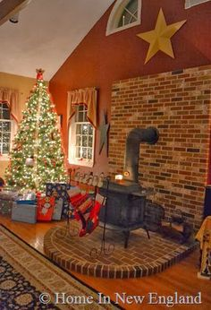 Love the brick hearth under the wood stove...