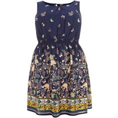 Plus Size Blue Butterfly Print Shirred Waist Dress ($23) ❤ liked on Polyvore