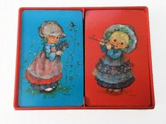 Hallmark Vintage Playing Cards Double Deck Little Lassies Blue & Red Country Prairie Girls Illustrations by Mary by ThriftyTheresa