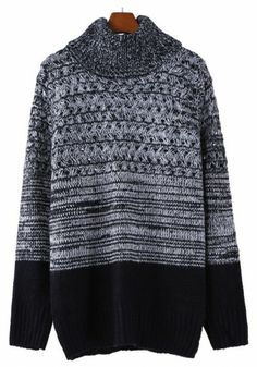 Grey Patchwork Pleated High Neck Thick Cotton Blend Sweater
