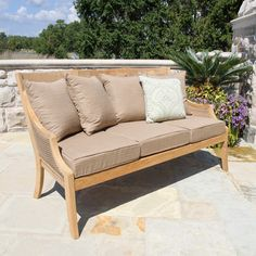 An all-weather wicker and solid grade A teak frame is the hallmark of the Havana sofa, with plush outdoor cushions that wick away moisture and resist mold and mildew. Outdoor Cushions, Outdoor Lounge, Outdoor Spaces, Outdoor Decor, Wood Sofa, Teak Wood, Teak Outdoor Furniture, Furniture Ideas, Chaise Sofa