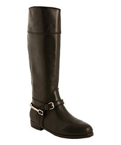 Pour la Victoire black leather 'Marne' tall boots | BLUEFLY up to 70% off designer brands at bluefly.com