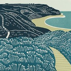 Port Mulgrave - linocut print by Michelle Hughes - Pyramid Gallery Woodcut Art, Linocut Prints, Linoprint, Guache, Woodblock Print, Art Drawings, Illustration Art, Landscape Illustration, Sculpture