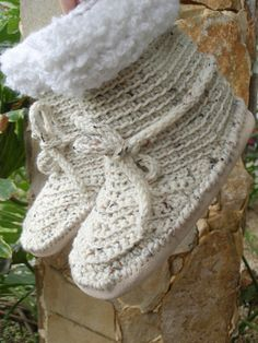 crochet Slipper boots Suede Soles fleck Medium by annmag on Etsy