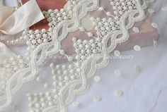 Cotton Embroidery Tulle Lace Trim Wide Off White by Lacebeauty, $5.99