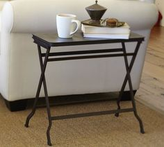 Carter Metal Folding Tray Table: Love this small side table, foldable for small spaces and nooks. Possible living room side table Folding Furniture, Wood Folding Table, Furniture Upholstery, Table Furniture, Furniture Design, Black Side Table, Serving Table, Small Tables, Side Tables