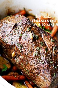Slow Cooker Balsamic Pot Roast - Melt in your mouth. Slow Cooker Balsamic Pot Roast - Melt in your mouth tender Slow Cooker Balsamic Pot Roast - Melt in your mouth tender Balsamic Pot Roast prepared in the slow cooker with potatoes and carrots! Rump Roast Recipes, Beef Pot Roast, Pork Recipes, Slow Cooker Recipes, Cooking Recipes, Slow Cooker Pot Roast, Crock Pot Chuck Roast, Healthy Pot Roast, Meat Recipes