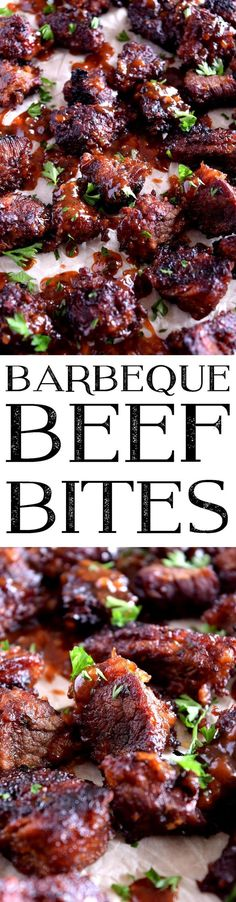 Barbeque Beef Bites- An easy game day favourite; Barbeque Beef Bites are deliciously simple to make and smothered in a sweet, spicy, thick, homemade barbeque sauce. As far as appetizers go, you'll be the winner; hands down!