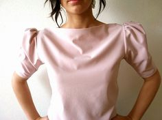 Puff Sleeve Boat Neckline Pink Top $55usd