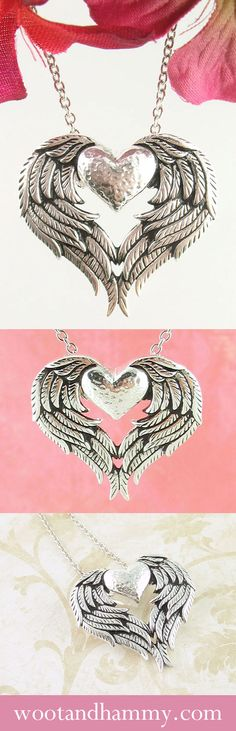 Wear this angel wing heart necklace as a reminder that you are loved and watched from above by your special angel. See it at www.wootandhammy.com. Photography by norma kosnar.
