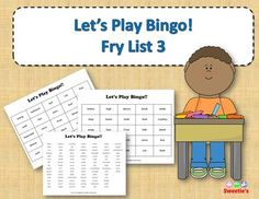 Fry List 3 - Words 201 to 300 40 Bingo Cards with Free Space 25 playing spaces per cards Call list of the 100 words randomized Print on card stock and laminate for multiple uses Print on regular paper for one-time use