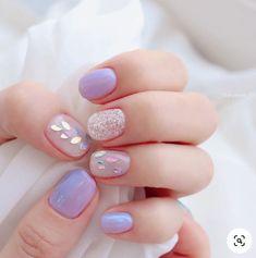 Nail Manicure, Gel Nails, Asian Nails, Purple Acrylic Nails, Korean Nail Art, Kawaii Nails, Pretty Nail Art, Minimalist Nails, Stylish Nails