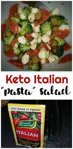 No pasta - keto italian pasta salad! Perfect low carb keto diet bbq side. Summer side dish. Replace real pasta salad. Pepperonis, olives, broccoli, etc! Keto dish