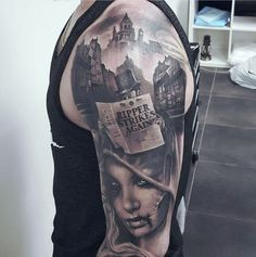 Amazing 3D Black And Grey Tattoo Color Of Realist Girl Face And City Tattoo For Arm Hand Tattoos Ideas