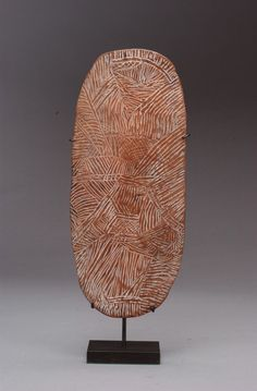 Aboriginal Ceremonial Platter, Coolamon Australia Circa Glass-incised Wood Size: wide x 16 high Aboriginal Dreamtime, Aboriginal Painting, Indigenous Australian Art, Indigenous Art, Primary School Art, Aboriginal Culture, Painting On Wood, Encaustic Painting, African Textiles