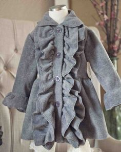 Girls+Cozy+Grey+Ruffle+Coat  12+Months+to+12+Years  Now+in+Stock!