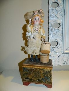 Antique French Mignonette Closed Mouth Bisque Doll Music Box Automaton Type
