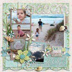 At the Beach Scrapbook Layout Beach Scrapbook Layouts, Vacation Scrapbook, Scrapbook Designs, Scrapbooking Layouts, Bridal Shower Scrapbook, Wedding Scrapbook, Baby Scrapbook, Scrapbook Cards, Scrapbook Frames