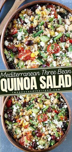 This protein-packed Mediterranean Three Bean Quinoa Salad is full of flavor and great served as a main dish or side dish! This easy and healthy food recipe is light and refreshing. It is loaded with protein and veggies making it the best salad if you want to start your healthy eating habits. Best Salad Recipes, Slaw Recipes, Summer Salad Recipes, Entree Recipes, Summer Salads, Side Dish Recipes, Whole Food Recipes, Baking Recipes, Main Dish Salads