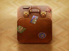 Luggage luggage suit case illustration old rough vintage leather icon modo photoshop csheemoney retro