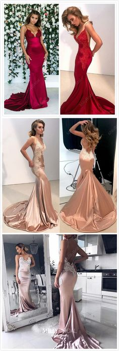 2019 Mermaid Prom Dresses Red, Long Formal Evening Dresses Champagne, Lace Graduation Dresses Pink, Cheap Wedding Party Dresses V-neck Pink Prom Dresses, Plus Size Prom Dresses, Beautiful Prom Dresses, Prom Dresses Online, Mermaid Prom Dresses, Cheap Prom Dresses, Pink Dress, Party Dresses, Gowns Online