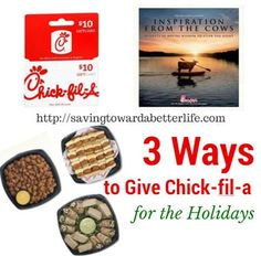 3 Ways to Give Chick-fil-a for the Holidays Who loves Chick-fil-a? There are three ways to give the gift of Chick-fil-a for Christmas! Gift cards are a great choice for giving at […] Holiday Gift Guide, Holiday Gifts, Better Life, Giveaways, Great Recipes, Inspirational, Christmas, Ideas, Products