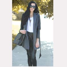 Classic gray jacket with leather sleeves   by FM908